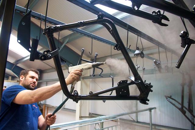 Motorbike frames powder coated in North Devon